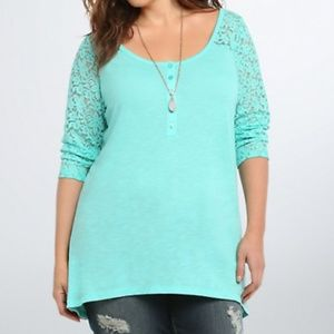 Torrid Mint green lace sleeve tunic size large